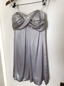 Silver Strapless Bubble Dress with Sequins, size 6