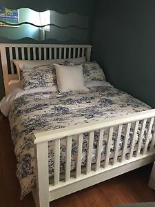 Queen size white bed frame , mattress and boxspring