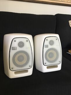 KRK VXT4 studio monitors white