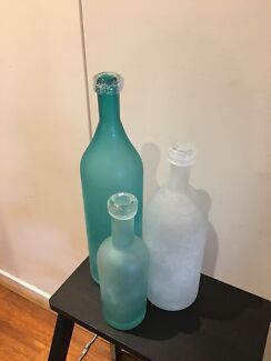 Set of 3 decorative hand blown glass bottles - $39