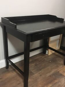 Desk - Solid Pine Stained Brown/Black