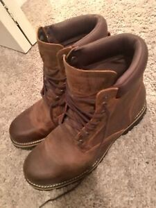 "Timberland 6"" premium waterproof boots men's brown size 10."