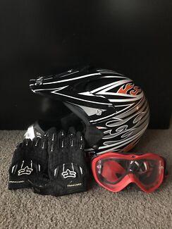 Kids Sonic Motorbike Helmet + Goggles and Gloves