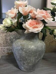Aged Metal Vase with Wooden Handle & Rose Bouquet