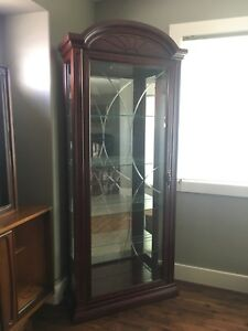 Cherry Wood Glass Display Cabinet