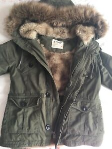 TNA Aritzia Army Green Fur Coat