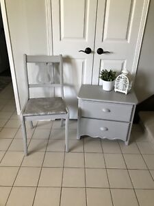 Refinished shabby chic bedside table and vintage chair