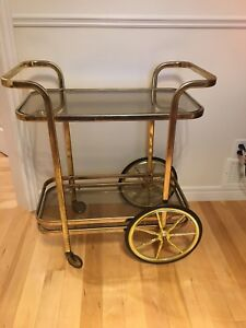 Brass and glass liquor cart in St Thomas