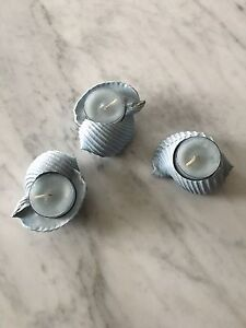 SET OF 3 SEASHELL TEA-LIGHT HOLDERS-LIKE NEW!