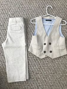Boy's (2 years) wedding or special occasion linen vest and pants