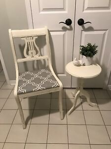 Shabby chic refinished chair and table