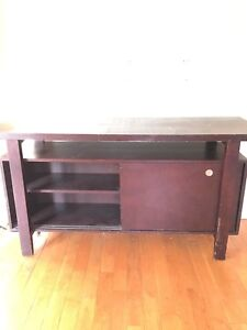 Solid wood display hutch tv stand