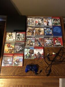 PS3 with games, cables, wired controller & PS Move