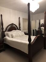 CANOPY BED W/MARBLE TOP SIDE TABLES AND DRESSER!
