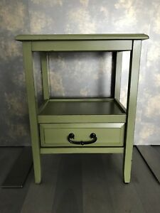 Moss green wood end table from Pier One