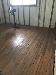 Free hardwood flooring... needs refinishing or cleaning..