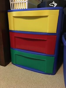 Multi coloured storage containers
