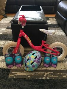 10inch girls balance bike and helmet set