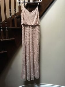 Adrianna Papell Blush Pink Beaded Gown