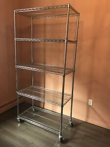 Chrome shelving unit with wheels