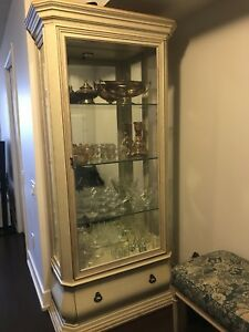 Cream wooden framed glass display cabinet
