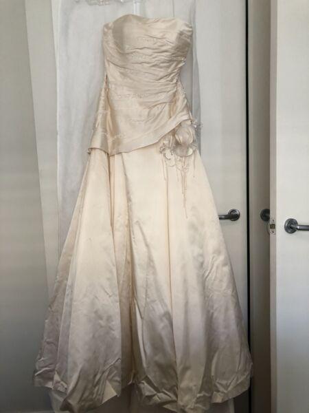 Wedding dress - Blush pink / champagne wedding gown - Size 12 ...