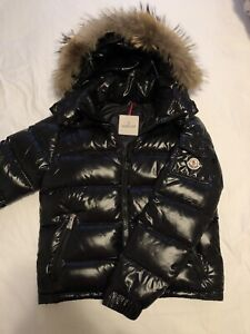 Moncler Black Jacket With Fur Size 2