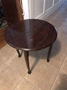 Dark Wood Round Accent Table