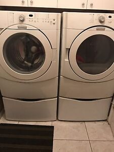 Washer and dryer with pedastools