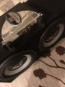"""^** 2 10"""" ROCKFORD FOSGATE SUBWOOFERS WITH MTX AMP IN BOX!!"""