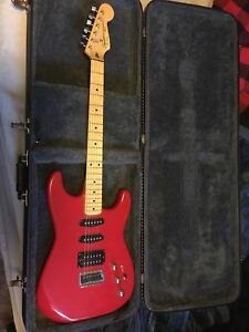 Fender strat squire two cherry bomb and amp