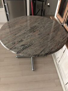 41inch  Round granite dining room table Stainless steel base
