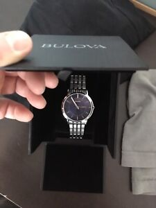 Watch, Bulova men's stainless blue dial