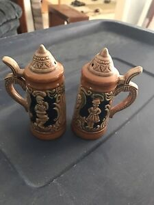 Vintage beer stein mug salt and pepper