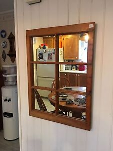 Antique pine window frame mirror