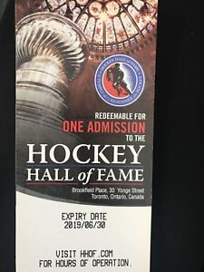 5 HOCKEY HALL OF FAME TICKETS