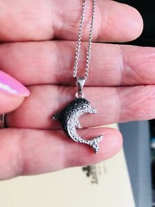 "SS Dolphin/ Genuine Black n White Diamonds Pendant/18"" Chain"