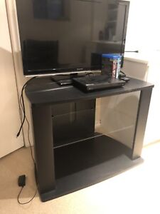 TV Stand, HDTV, Blue Ray/DVD player with wifi.