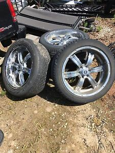 "22"" chrome rims with decent tires"