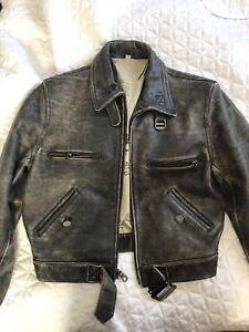 Women's distressed leather motorcycle jacket - s/m