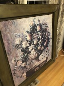 Reduced to 50.00 Large Floral Wall Art On Metal