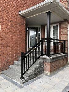 Aluminum railings column gate glass. HomeStars approved