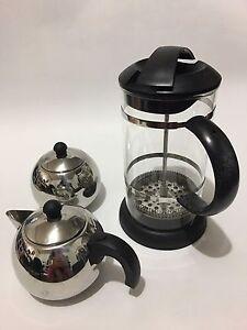 Tea coffee plunger+milk jug+sugar bowl set Strathfield Strathfield Area Preview