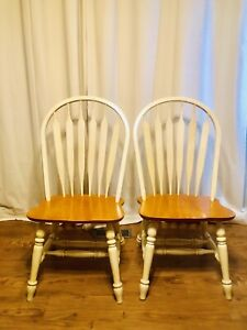 Vintage White Wood Dining Chairs