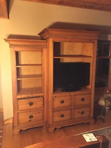 Pine entertainment center and dining room table