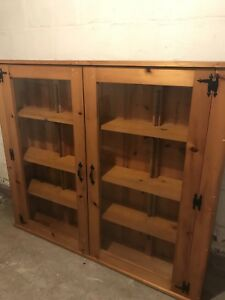 Antique Wood Cabinet - Shelf - Book Shelf - Trophy Cabinet