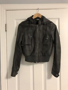Vegan Leather Jacket - Grey Size Small with
