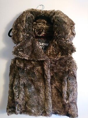 Ladies Superdry Mountain Thick Faux Fur Gilet Approx Small UK 8 10 Body Warmer