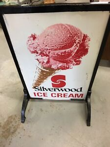 Vintage Silverwoods ice cream sign