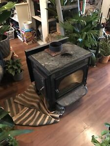 Hearthstone wood stove and chimney.